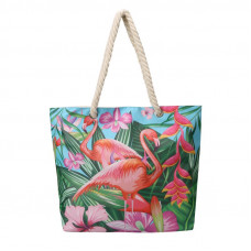 BAGK205 TROPICAL BEACH BAG TURQUOISE