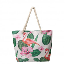 BAGK207 TROPICAL BEACH BAG WHITE
