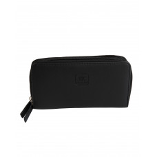 PURF064BL BLACK PU LEATHER 2 ZIP WALLET