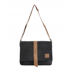 BAGE002BL BLACK CANVAS MESSENGER BAG