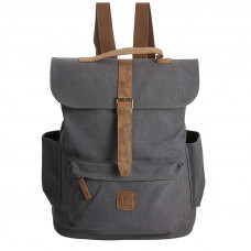BAGE003DGY DARK GREY CANVAS LARGE BACKPACK