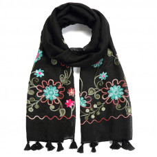SCAW012BL FOLKLORIC EMBROIDERED SCARF