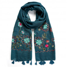 SCAW012TE FOLKLORIC EMBROIDERED SCARF